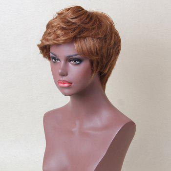 Siv Hair Inclined Bang Layered Short Curly Human Hair Wig -  AUBURN BROWN