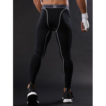 Graphic Elastic Waist Suture Stretchy Quick Dry Gym Pants - XL XL