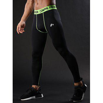 Graphic Elastic Waist Suture Stretchy Quick Dry Gym Pants - GREEN GREEN