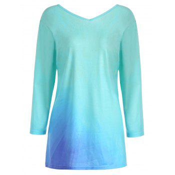 Ombre Butterfly Print Plus Size Tee - Pers 3XL