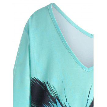 Ombre Butterfly Print Plus Size Tee - Pers 5XL