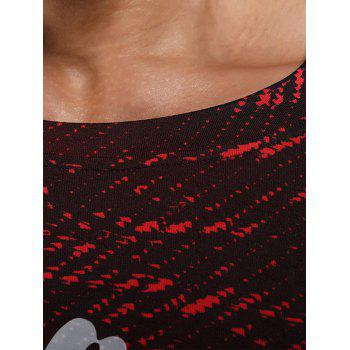 Raglan Sleeve Quick Dry Camouflage Stretchy Gym T-shirt - RED RED