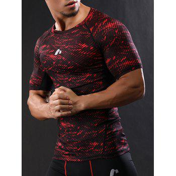 Raglan Sleeve Quick Dry Camouflage Stretchy Gym T-shirt - RED M