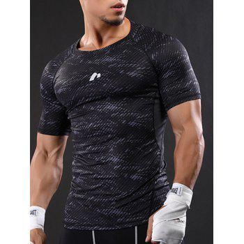 Raglan Sleeve Quick Dry Camouflage Stretchy Gym T-shirt - 2XL 2XL