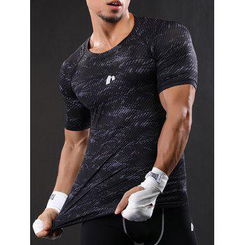 Raglan Sleeve Quick Dry Camouflage Stretchy Gym T-shirt - GRAY GRAY