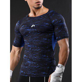 Raglan Sleeve Quick Dry Camouflage Stretchy Gym T-shirt - BLUE 2XL