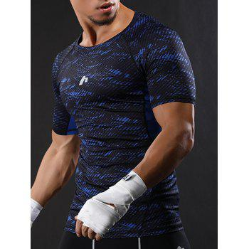 Raglan Sleeve Quick Dry Camouflage Stretchy Gym T-shirt - XL XL