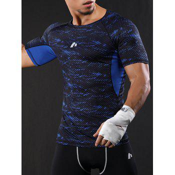 Raglan Sleeve Quick Dry Camouflage Stretchy Gym T-shirt - BLUE M