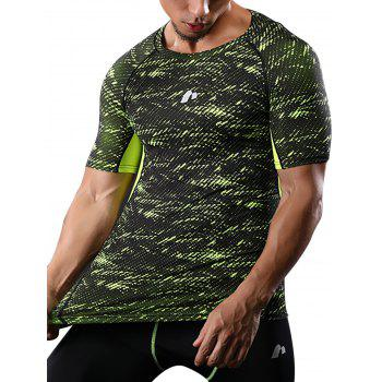 Raglan Sleeve Quick Dry Camouflage Stretchy Gym T-shirt - GREEN L
