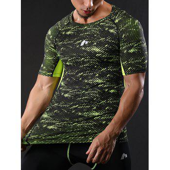 Raglan Sleeve Quick Dry Camouflage Stretchy Gym T-shirt - M M