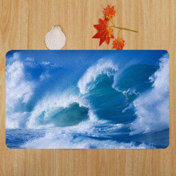 Océan Wave Pattern 3 Pcs Flannel Bathroom Toilet Mat - Bleu