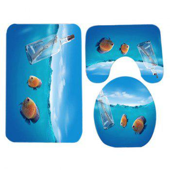 Ocean Fish Pattern 3 Pcs Flannel Bathroom Toilet Mat - LAKE BLUE