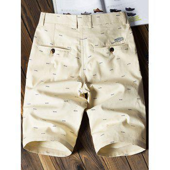 Fish Bone Print Flat-Front Shorts - LIGHT KHAKI 40