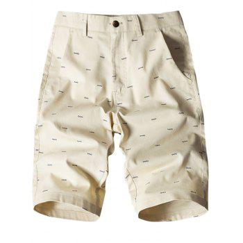 Fish Bone Print Flat-Front Shorts