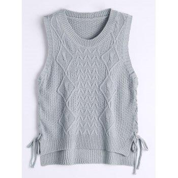 Lace Up High Low Knitted Vest
