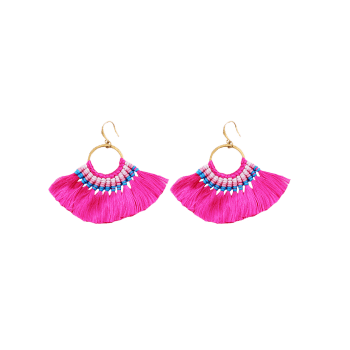 Ethnic Circle Braid Tassel Hook Earrings