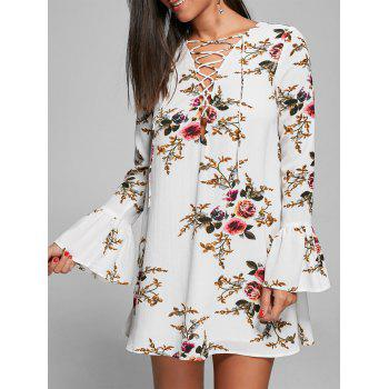 Floral Bell Sleeve Lace Up Mini Shift Dress