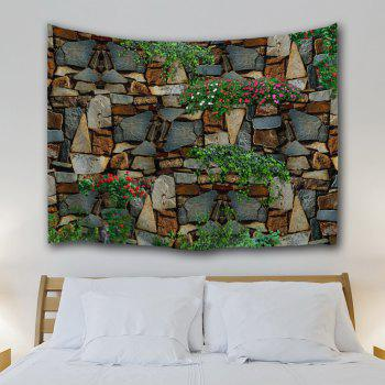 Floral Stone Wall Print Polyester Fabric Tapestry - COLORMIX W71 INCH * L91 INCH
