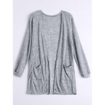 Pockets Open Front Cardigan