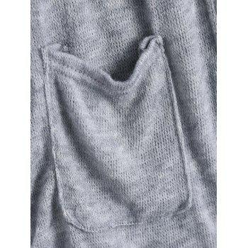 Pockets Open Front Cardigan - GRAY XL