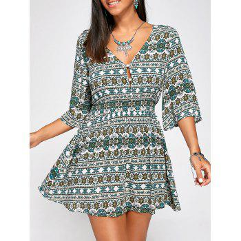 Elastic High Waist Half Buttons Print Dress