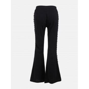 Flare Pants with Criss Cross Lace Up - BLACK L