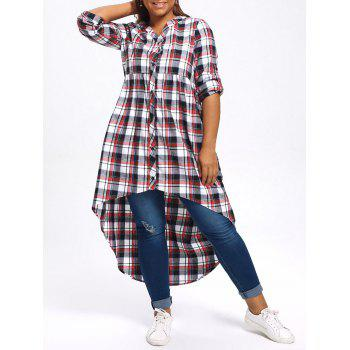 Plus Size Plaid High Low Shirt