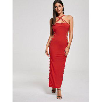 Sexy Cut Out Criss Cross Club Dress - RED RED