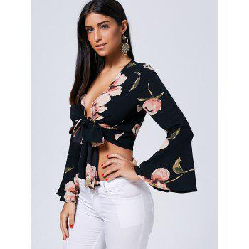 Flare Sleeve Floral Front Knot Blouse - BLACK S