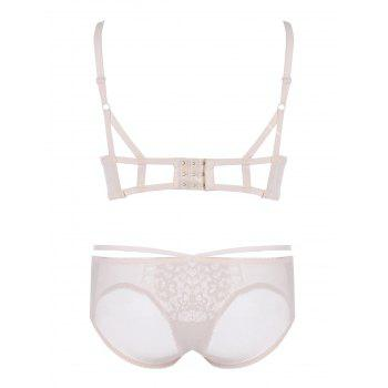 Embroidered Push Up Bra Set - LIGHT KHAKI LIGHT KHAKI