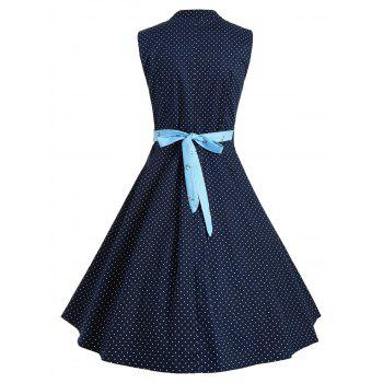Polka Dot Button Up A Line Dress - BLUE 2XL