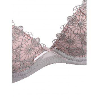 Crochet Insert Push Up Bra Set - WHITE GREY WHITE GREY