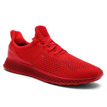 Mesh Lace Up Breathable Athletic Shoes - RED RED