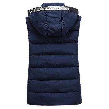 Detachable Hooded Graphic Embellished Padded Waistcoat - CADETBLUE CADETBLUE