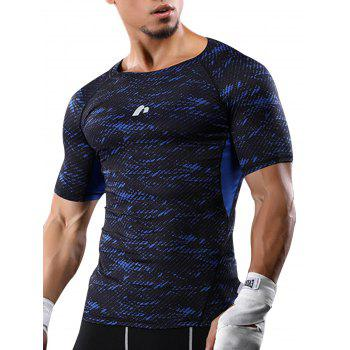 Raglan Sleeve Quick Dry Camouflage Stretchy Gym T-shirt - BLUE BLUE