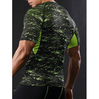 Raglan Sleeve Quick Dry Camouflage Stretchy Gym T-shirt - GREEN GREEN