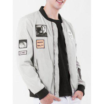 Rib Stand Collar Pocket Graphic Appliques Zip Up Jacket - GRAY GRAY