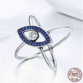 Rhinestone Sterling Silver Devil Eye Ring - BLUE BLUE