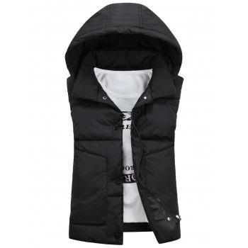 Detachable Hooded Snaps Zip Up Padded Waistcoat - BLACK BLACK