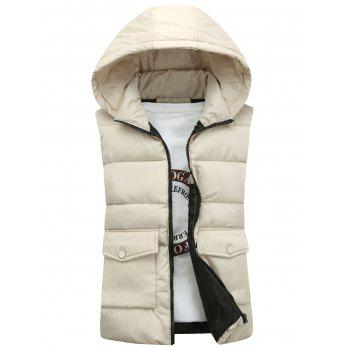 Pockets Detachable Hooded Padded Waistcoat - KHAKI KHAKI