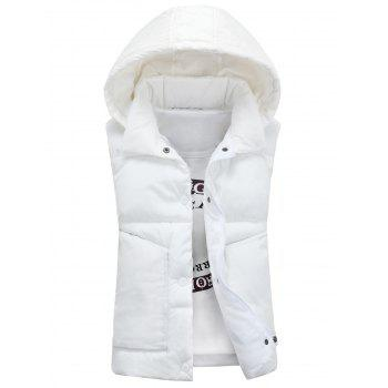 Detachable Hooded Snaps Zip Up Padded Waistcoat - WHITE WHITE