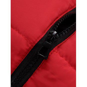 Pockets Detachable Hooded Padded Waistcoat - RED RED