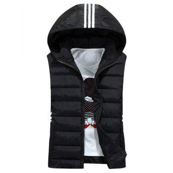 Stripe Detachable Hooded Padded Waistcoat - BLACK BLACK