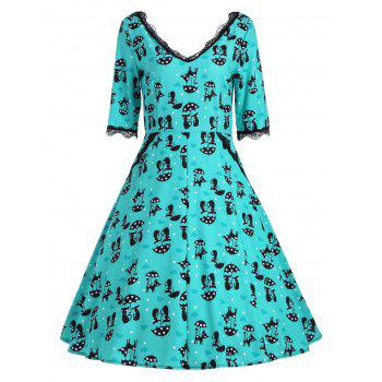 Kitten Print V Neck A Line Dress - GREEN GREEN