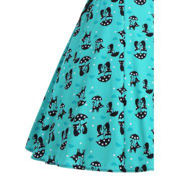 Kitten Print V Neck A Line Dress - GREEN L