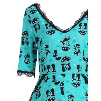 Kitten Print V Neck A Line Dress - GREEN M
