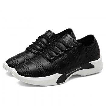 Faux Leather Breathable Tie Up Casual Shoes - BLACK 40