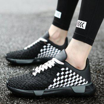 Weave Plaid Pattern Breathable Casual Shoes - BLACK WHITE 41