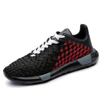 Weave Plaid Pattern Breathable Casual Shoes - BLACK/RED 44