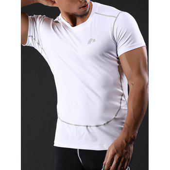 Suture Quick Dry Short Sleeve Stretchy Gym T-shirt - WHITE XL